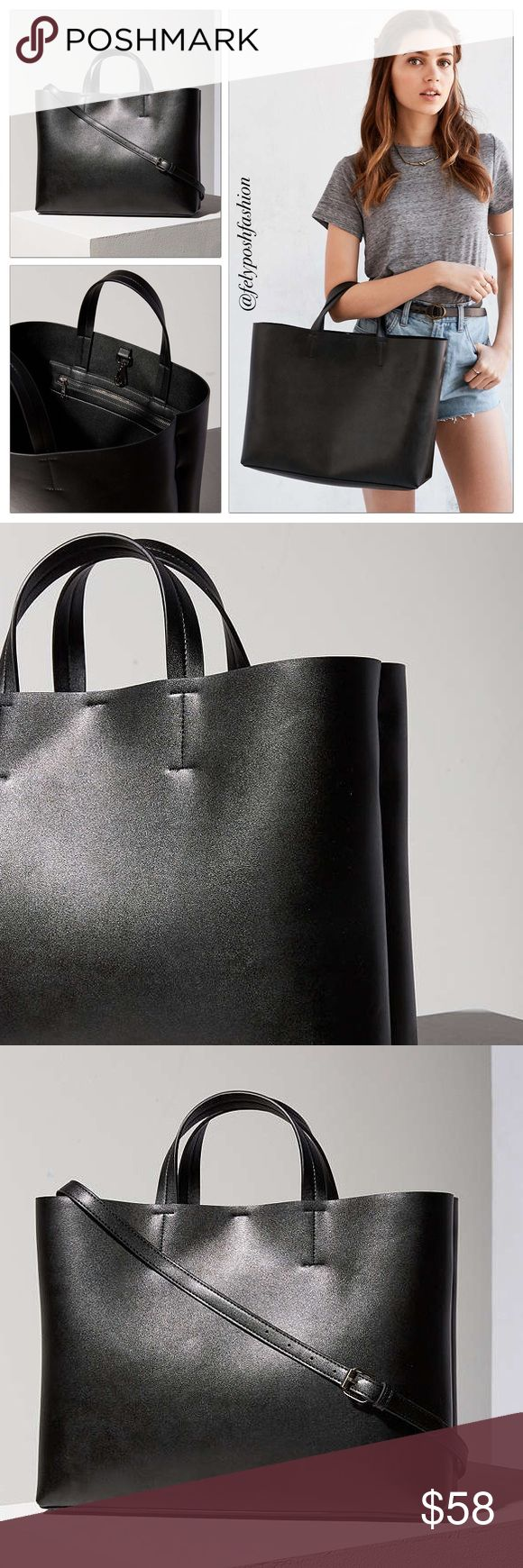 Urban Outfitters S&N Black Jule Oversized Tote Bag Urban Outfitters Silence + Noise Women's Black Jule Oversized Tote Bag One Size. Keep your style sharp with this sleek vegan leather tote bag from progressively innovative brand. Urban Outfitters Bags Totes