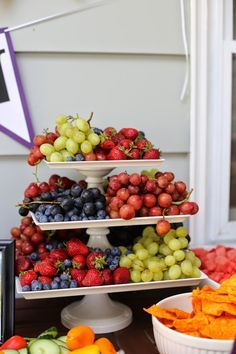 UW Graduation party food table. purple and gold party.  Use a cake stand to serve fruit!