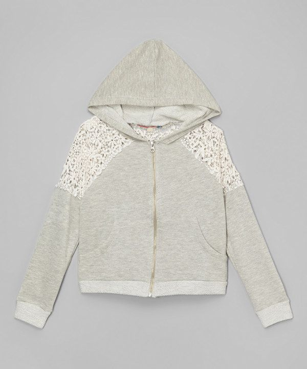 Look at this Vintage Havana Gray Crochet Zip-Up Hoodie on #zulily today!