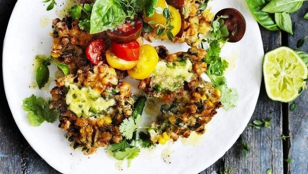 Corn fritters with jalapeno butter and heirloom tomato salad -   For fritters with a sting in the tail, try this chilli-lovers' recipe featuring jalapenos.