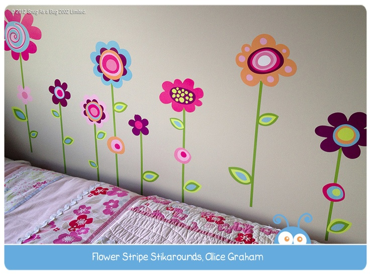 Flower Stripe Wall Stickers by Alice Graham.  Vote for Alice if you think this is the best kids room!