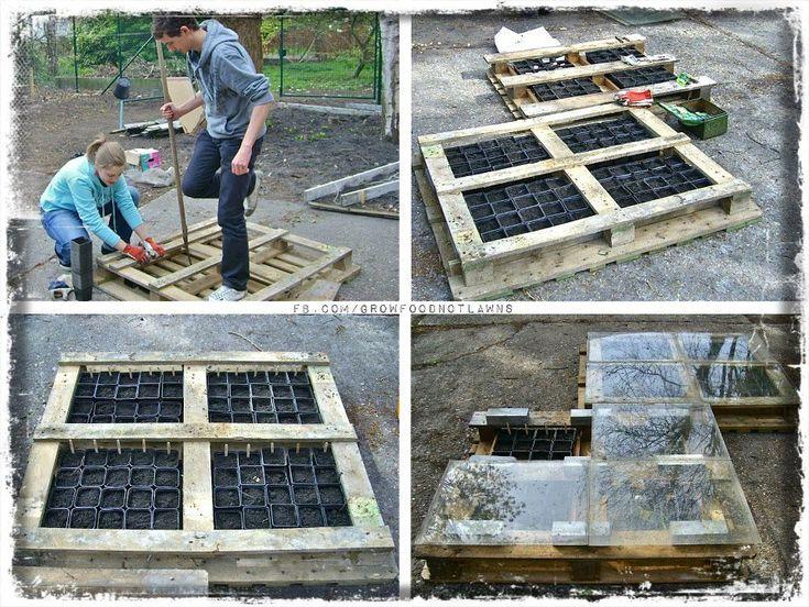 fabriquer son carr de potager avec des palettes de r cup 39 exterieurs jardins gardens. Black Bedroom Furniture Sets. Home Design Ideas