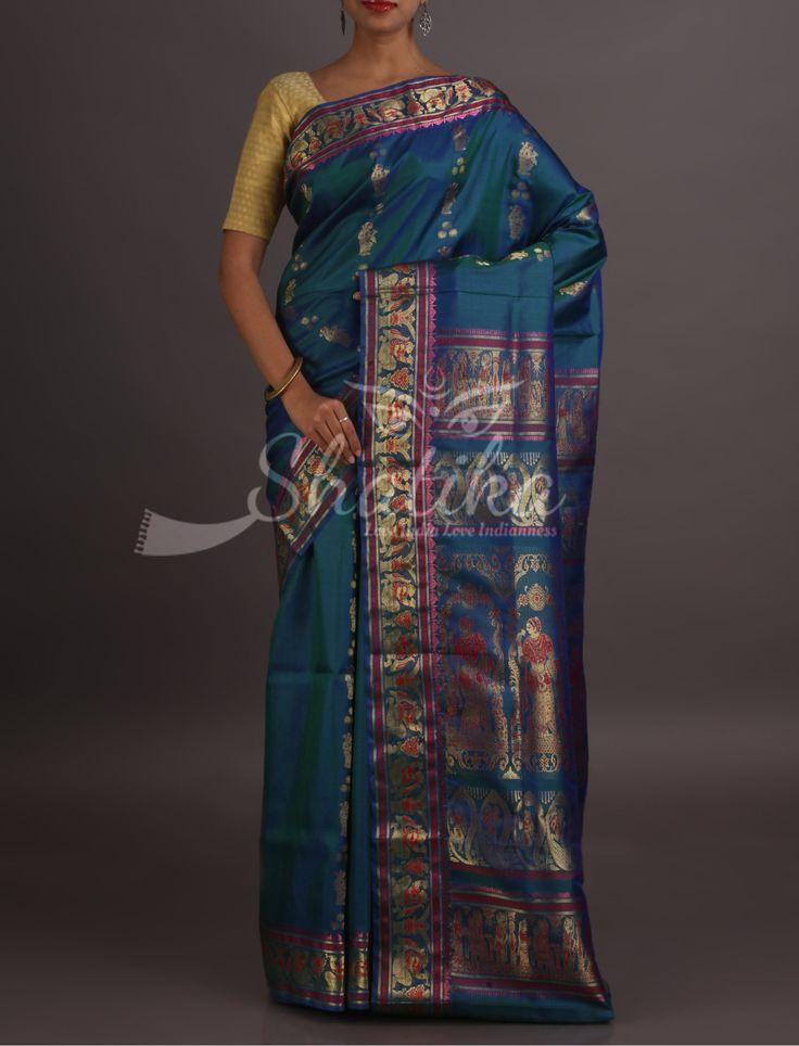 Tisca Scene From Ramayan In Golden Threads Handloom Baluchari Silk Saree