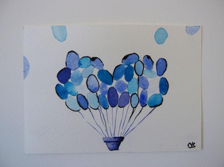 """Aquarelle """" B comme ballons"""" - série alphabet - format carte postale"""