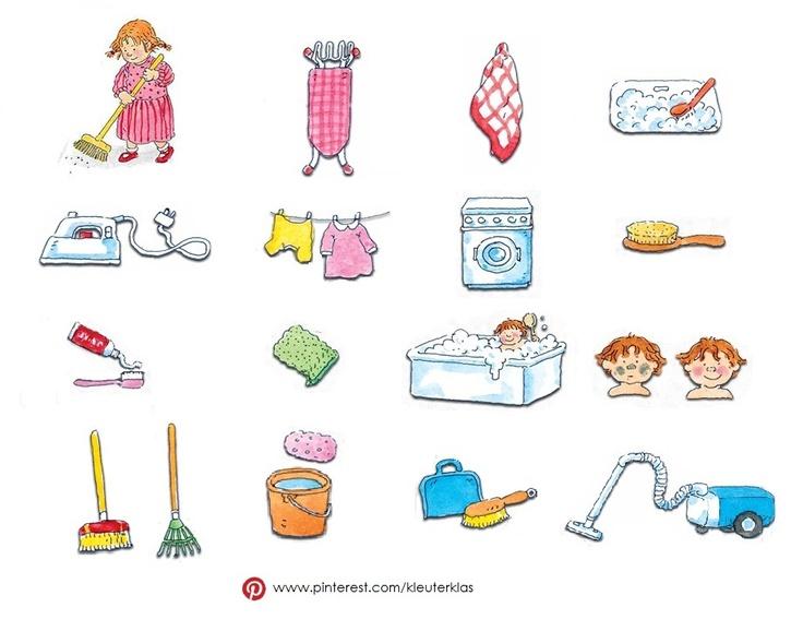 Plaatjes thema 'Schoonmaken'  (tekeningen van Dagmar Stam)