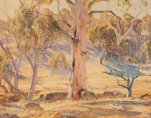 Summer Afternoon, Ambleside by Hans Heysen (1936) Watercolour 48.3 x 62.2 cm