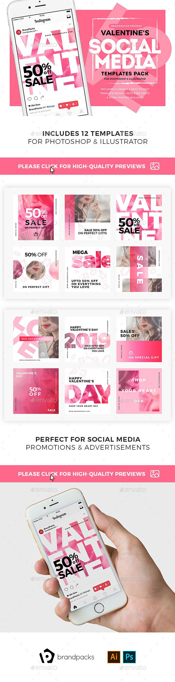 Valentine's Day Social Media Templates - Social Media Web Elements