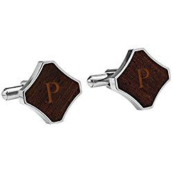 Personalized Redwood Stainless Steel Cuff Links, Letter P