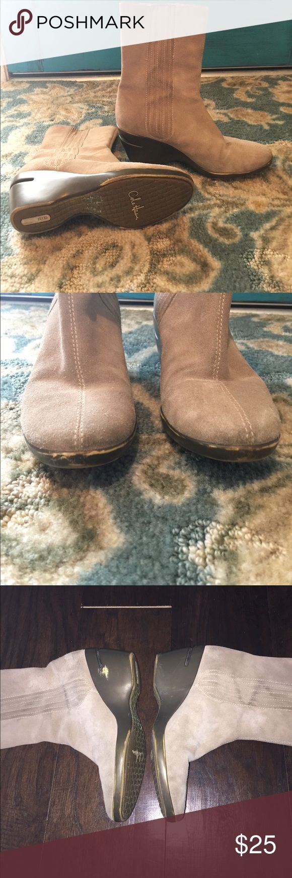 Cole Haan Wedge Nike Air boots Cole Haan Nike Air Wedge  Tan Boots. Size 7.5. Have some visible signs of wear. See pictures. Plenty of more life in them. Very comfortable. These are Cole Haan NIKE AIR collection. Cole Haan Shoes Heeled Boots