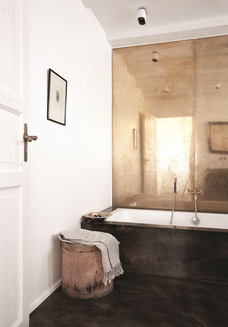 Norm.Architects, Vedbaek House III, Copenhagen   brown gold bathroom interiors