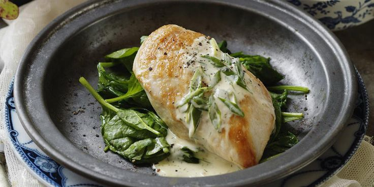 Recipe for Creamy Horseradish Chicken with Garlic Sautéed Spinach