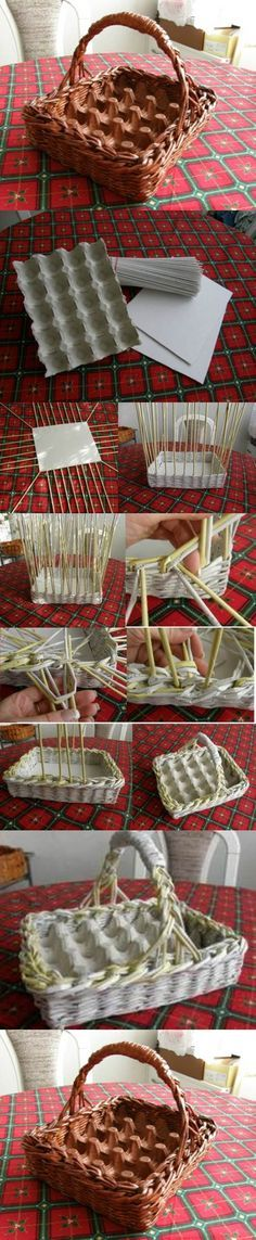 love this idea, could cut egg carton piece to fit any basket already on hand DIY Woven Paper Easter Egg Basket and Tray 2