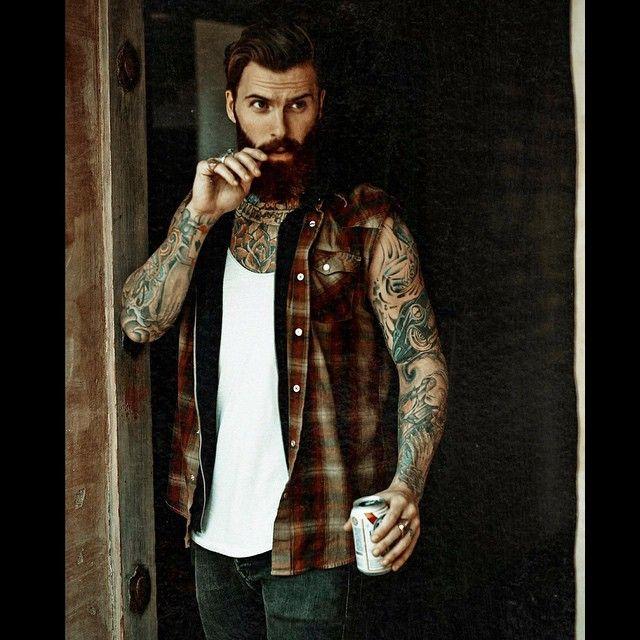 Levi Stocke - full thick dark red beard and mustache beards bearded man men mens' style street clothing fashion model bearding tattoos tattooed ginger auburn redhead handsome #beardsforever