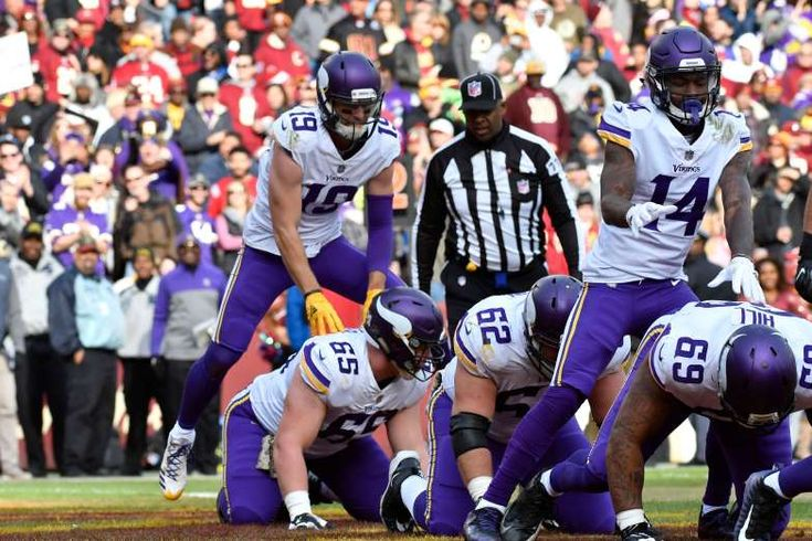 Best NFL celebrations of 2017 - November 15, 2017:  Minnesota Vikings wide receiver Adam Thielen (19) celebrates with teammates after his second quarter touchdown against the Washington Redskins at FedEx Field.