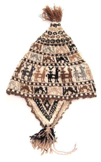 Alpacaandmore Traditionelle Chullo Mütze vom Tititaca See Peru, Alpakawolle