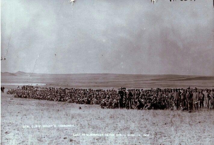 Die laaste Kommando wat oorgee. Vrystaat. Onder leiding van Genl. Nieuwoudt. 16 Junie 1901. Krediet aan oom Nico Moolan.