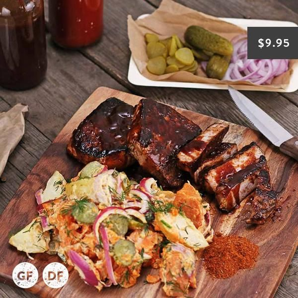 YouFoodz | BBQ Boneless Rib $9.95 | Think rich Texan BBQ sauce smothered over a juicy boneless pork loin, with a side of our classic creamy potato salad thats sprinkled with tangy pickles | #Youfoodz #HomeDelivery #YoullNeverEatFrozenAgain