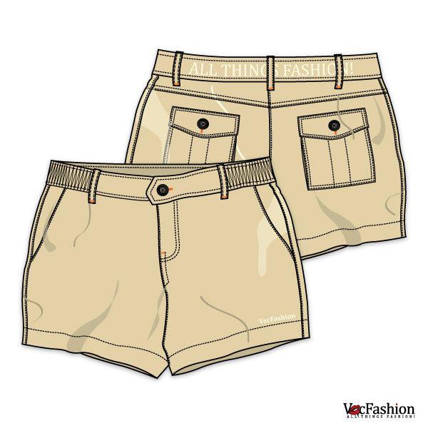 Women's Cotton Casual Shorts Vector Template