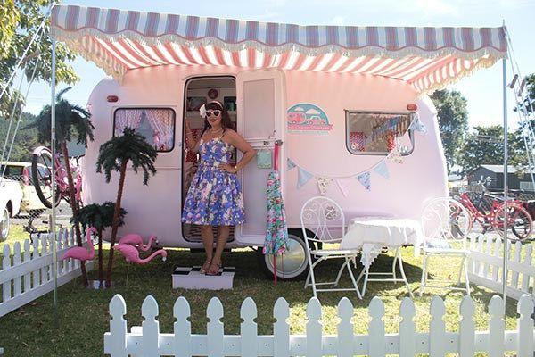 Lisa Mora Pink and Purple girly caravan from Vintage Caravan Style Book