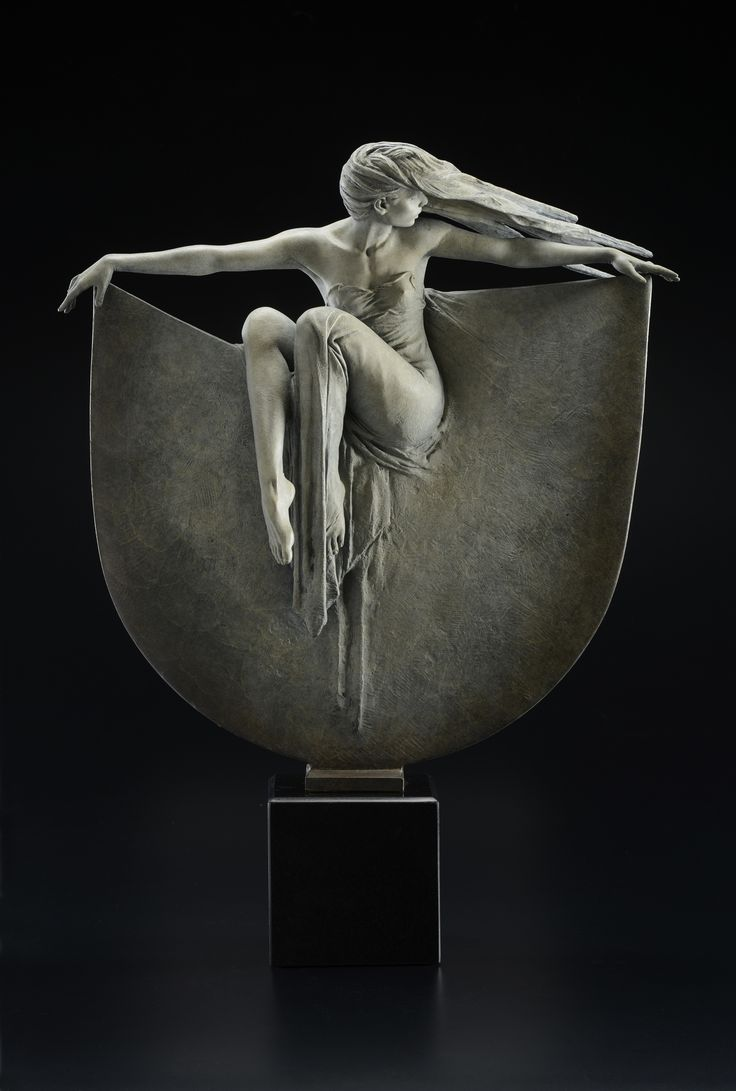 "'GRACE' by Michael Talbot, London based artist and sculptor.  oxidized bronze Height inc. base – 26"" (66 cm) – (1/3 life scale)"