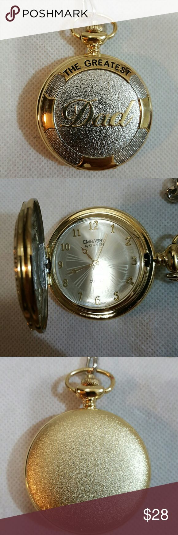 """WORLD'S GREATEST DAD POCKET WATCH Never used purchased it and it did NOT Have a battery in it.  Gold and silver with inscribed on front """"WORLD'S GREATEST DAD""""  WITH SILVER POCKET CHAIN.  Great gift or just because for DAD!!!! 💖💖💖 Gruen  Accessories Watches"""