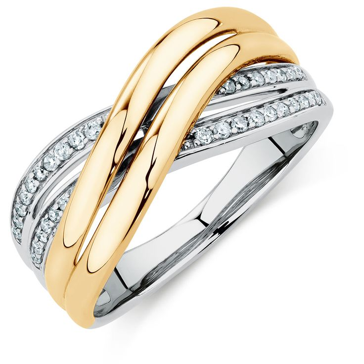 Crossover Ring with 0.15 Carat TW of Diamonds in 10ct Yellow Gold & Sterling Silver