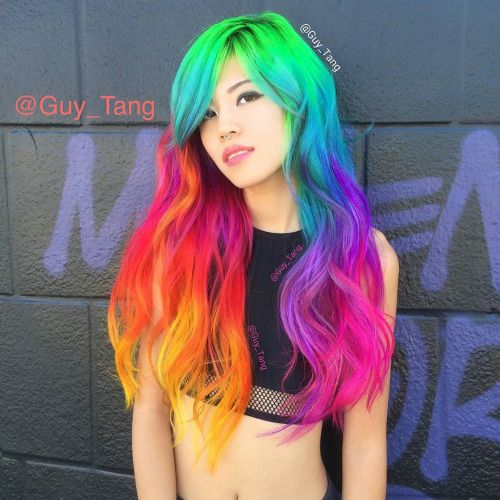 """fatedbaroness:  """"Fun rainbow hair color on my girl @hieucow today! Did you see all the fun on my #periscope? Mixing @olaplex with fashion colors helps strengthen the hair as it deposits pigment simultaneously! Mixing pravana neons with the vivids!❤️"""" by @guy_tang on Instagram http://ift.tt/1QKCTTk"""