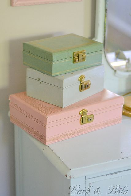 Vintage jewelry boxes from Lark & Lola