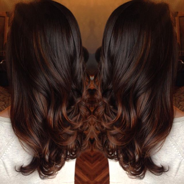 This color!!❤️❤️❤️ #schwarzkopf #fallhair #chocolatered #stylist #balayage