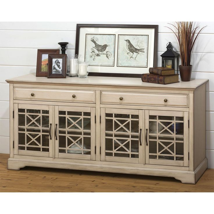 "Dynamic Home Decor Craftsman Antique 70"" TV Stand Media Unit w/ Distressed Cream Finish: Missing Product Attributes"