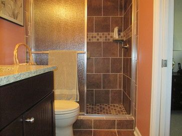 Guest bathroom with a tile shower this tile shower for Bathroom designs 12x12