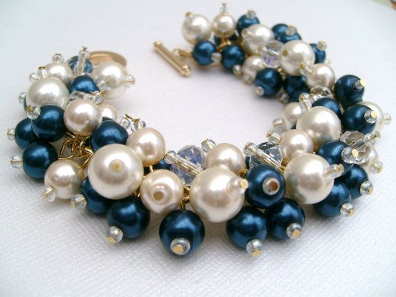 Bridal Jewelry Midnight Blue and Ivory Wedding Pearl by KIMMSMITH