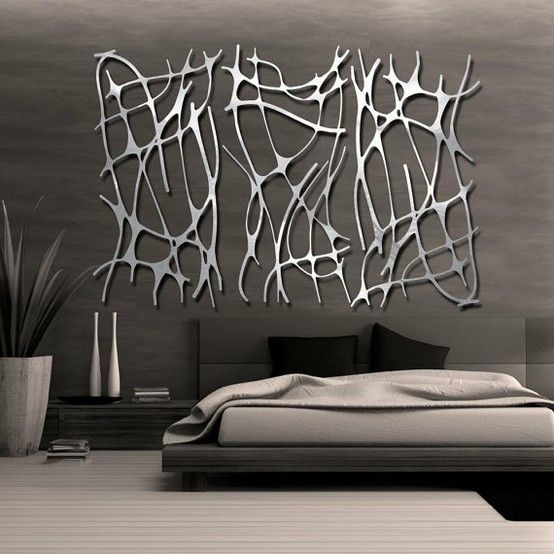 Contemporary Interior Design Bedroom With Modern Metal Looking Abstract Wall Deco Interiordesign Contemporaryinteriordesign