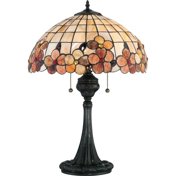 """Quoizel SSCV6224 Captiva 2 Light 24"""" Tall Accent Table Lamp with Sea Shell Dome Vintage Bronze Lamps Table Lamps Accent Lamps"""