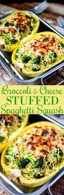Broccoli & Cheese Stuffed Spaghetti Squash - Easy Food