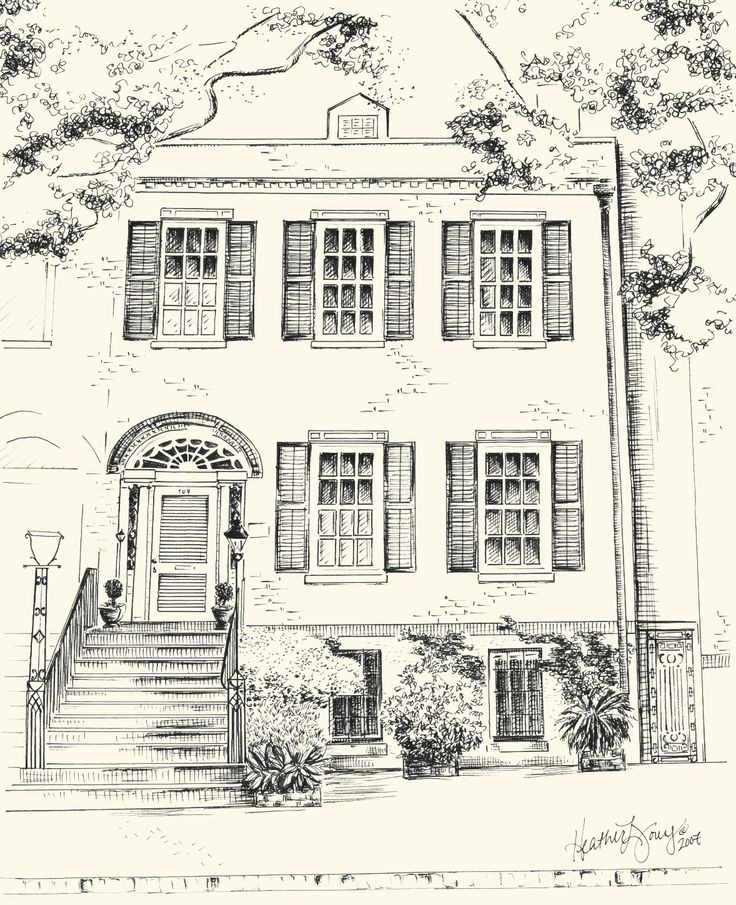 Custom Pen and Ink Architectural Drawing of your House or Home in Savannah - available as notecards too by Savannah artist Heather Young of The Ink Lab.