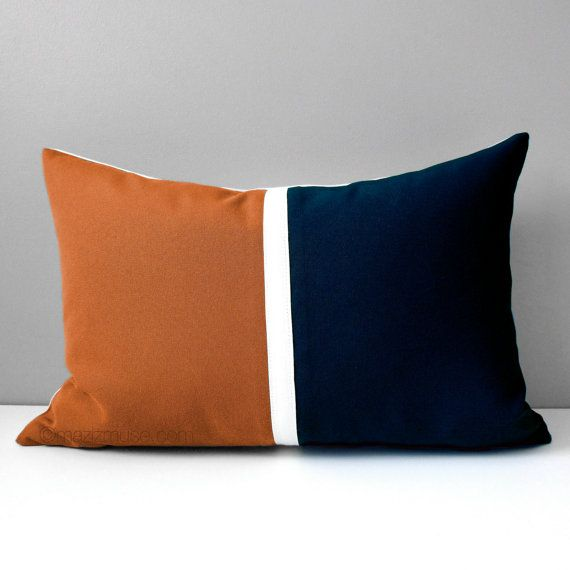 Nutmeg & Navy Blue Outdoor Pillow Cover, Rust Brown, Decorative Pillow Case, Masculine Color Block, Modern Sunbrella Pillow Cushion Cover