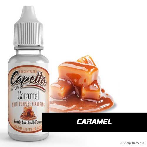Caramel Flavor / Karamell Kola Arom Capella Flavors erbjuder massor av utsökta smaker till väldigt hög klass. De är vattenlösliga och mycket koncentrerade essenser.  Tillverkade i USA med säkra och rena smaker. Godkända av FDA (Amerikanska Mat- och läkemedelsverket). Kan användas i både mat (bakverk, glass m.m.) och dryck (alkoholhaltiga drinkar, protein shakes, espressos, smaksatt vatten m.m.