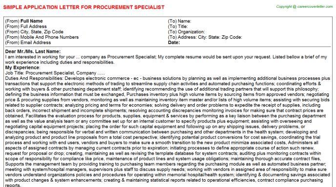 Procurement Specialist Application Letter