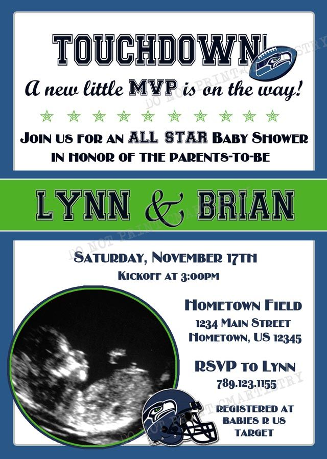 Personalized NFL Seahawks Football Baby Shower Photo Invitations **Need them today? DIY Printing Available**