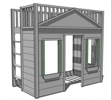 I want to make this as a reading loft for the girls playroom! DIY Furniture Plan from Ana-White.com A totally buildable playhouse loft bed that can be easily assembled in rooms. Features cottage styling, open ladder, full railings, three large windows and a doorway. Freestanding.