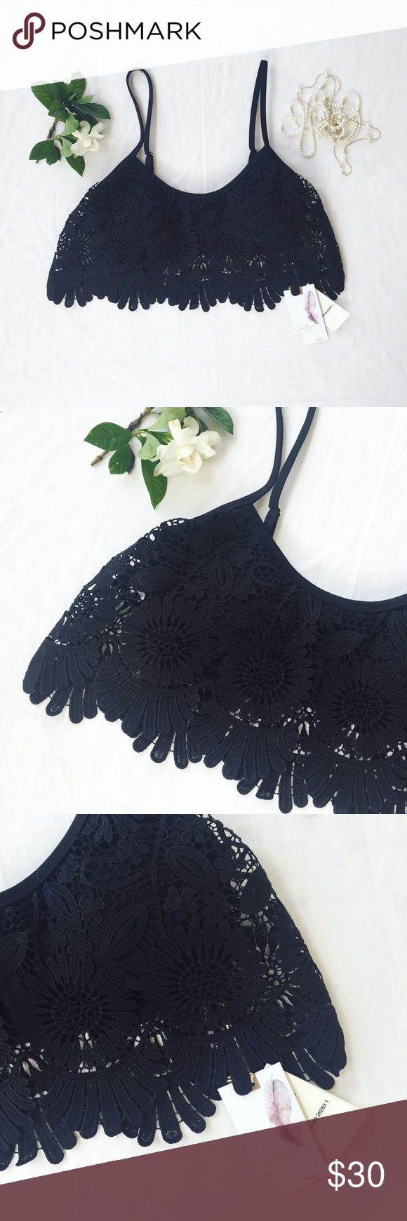 🆕 Jessica Simpson | Lace Sunflower Bikini Top | S Gorgeous Jessica Simpson bikini top - new with tags. Originally $70.00. Simple black top with decorative lace overlay. Adjustable spaghetti straps. Size small. Also available in blue!! Ready to ship next business day! Jessica Simpson Swim Bikinis