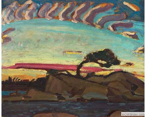 Arthur Lismer (1885-1969), Evening Silhouette, c. 1926, Oil on paperboard, 32.6 x 40.7 cm, Gift of the Founders, Robert and Signe McMichael, McMichael Canadian Art Collection