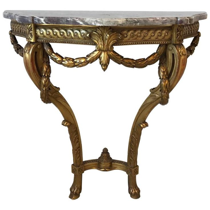 19th Century Louis XVI French Giltwood Demilune Table with Marble Top | 1stdibs.com