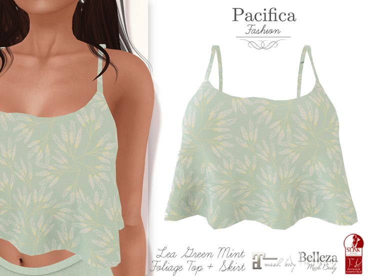 New: Lea Green Mint Tank, available in the Second Life Marketplace: https://marketplace.secondlife.com/p/Pacifica-Fashion-FATPACK-Lea-Green-Mint-Top-Skirt-Belleza-Maitreya-Slink/11707620