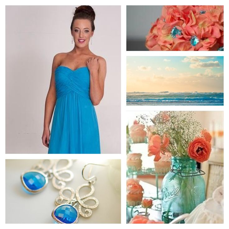 Blue bridesmaid dress perfect for a beach wedding, the coral highlights are a great twist