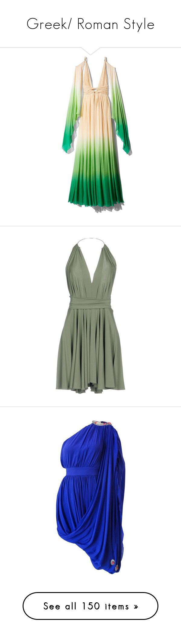 """Greek/ Roman Style"" by natalialovesnutella ❤ liked on Polyvore featuring dresses, drapey dress, print dress, green grecian dress, two tone dress, grecian dresses, military green, mini dress, short dresses and olive green short dress"