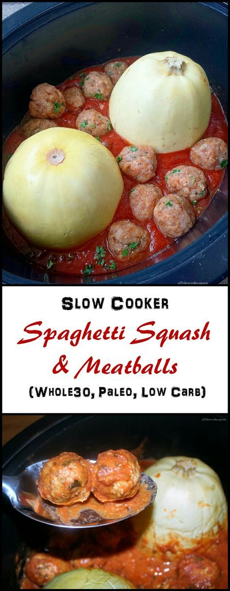Crockpot / Slow Cooker Whole30 Paleo - Spaghetti squash and homemade, whole30/paleo meatballs cook together in this super easy and healthy one-pot meal.