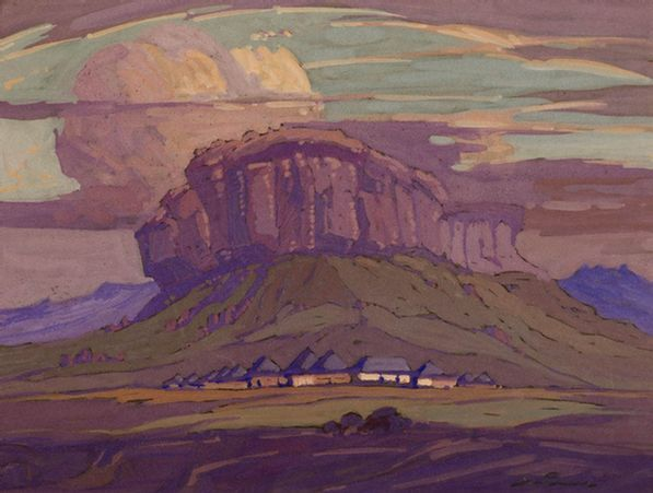 Jacob Hendrik Pierneef; Village near the Maluti Mountains