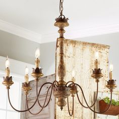 Check Out Weathered Cottage Chandelier   6 Light From Shades Of Light  Leaf Shaped Metal